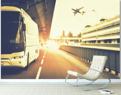 Summer journey with transfer from bus to airplane