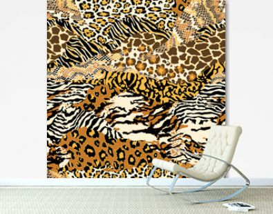 Wild animal skins abstract patchwork wallpaper seamless vector pattern
