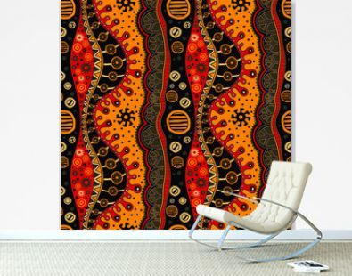 African hand-drawn seamless ethno pattern, tribal background. It can be used for wallpaper, web page and others. Vector illustration.