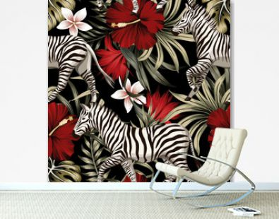 Tropical floral hawaiian palm leaves, hibiscus flower, zebra animal seamless pattern black background. Exotic jungle wallpaper.