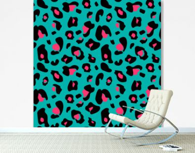 Colorful extravagant seamless leopard pattern in black, green an