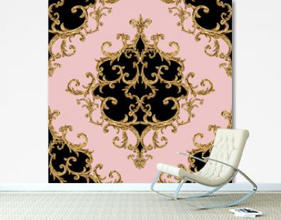 Baroque golden elements ornamental seamless pattern. Watercolor hand drawn gold element texture on pink background.