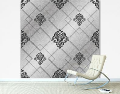 Seamless pattern with damask ornament.