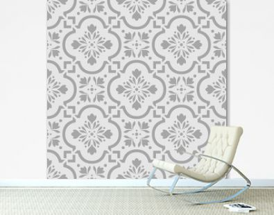 Gray Moroccan Floral Tile Seamless Pattern