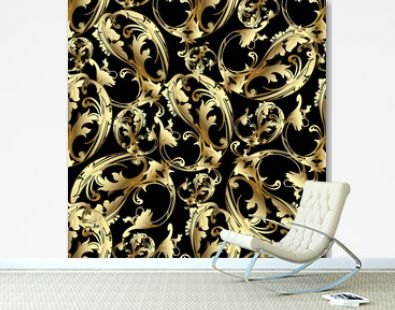 Floral vintage seamless pattern. Paisley background. Ornamental paisley flowers with gold 3d scroll leaves and ornaments in baroque style. Golden texture. Surface design for wallpapers, fabric, prints