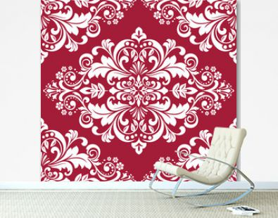 Wallpaper in the style of Baroque. A seamless vector background. White and red floral ornament. Graphic pattern for fabric, wallpaper, packaging. Ornate Damask flower ornament