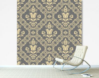 Orient vector classic gray and golden pattern. Seamless abstract background with vintage elements. Orient background. Ornament for wallpaper and packaging