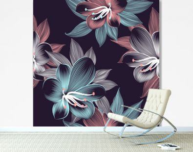 Seamless floral pattern with hand-drawn clivia flowers.