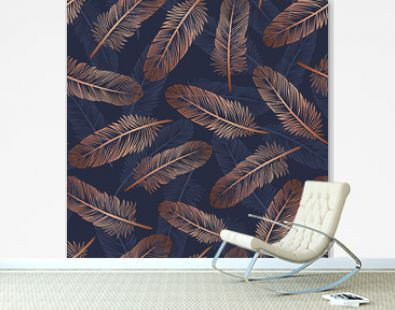 Pattern with gold feathers on a blue background. Suitable for curtains, wallpaper, fabrics, wrapping paper.
