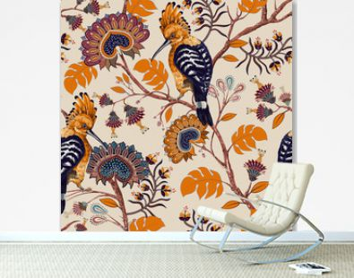Vector colorful pattern with birds and flowers. Hoopoes and flowers, retro style, floral backdrop. Spring, summer flower design for web, wrapping paper, cover, textile, fabric, wallpaper