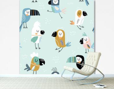 Seamless childish pattern with colorful parrots and toucans. Creative scandinavian style kids texture for fabric, wrapping, textile, wallpaper, apparel. Vector illustration
