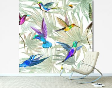 Hummingbird birds seamless pattern on palm leaves background, watercolor illustration. Tropical print for fabric, wallpaper, background for various designs.