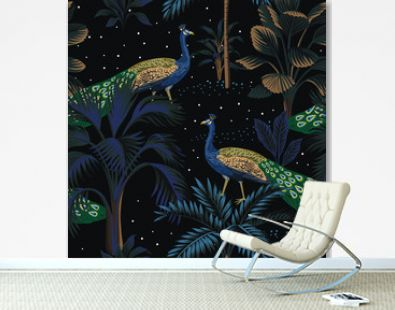 Tropical night vintage peacock bird, palm tree, plant, stars sky floral seamless pattern black background. Exotic dark jungle wallpaper.