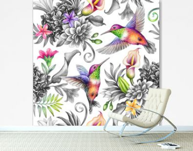 digital watercolor botanical illustration, seamless floral pattern, wild tropical flowers, humming birds, white background. Paradise garden day. Palm leaves, calla lily, plumeria, hydrangea, gerber