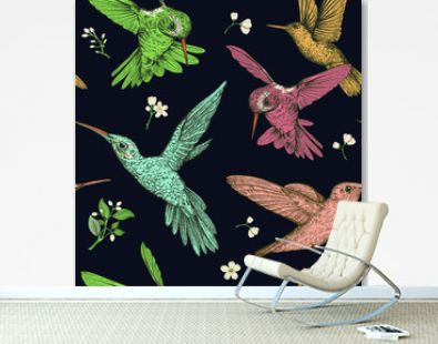 Colored drawn birds and flowers on a black background. Vector seamless pattern with flying birds. Design for fabric, wrapping paper, wallpaper, carpet, web, textile.