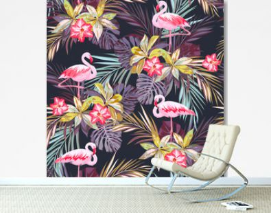 Tropical summer seamless pattern with flamingo birds and exotic plants