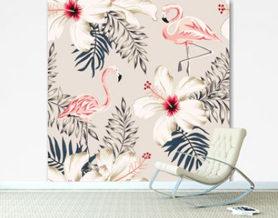 Pink flamingo, palm leaves, white hibiscus flowers, beige background. Vector floral seamless pattern. Tropical illustration. Exotic plants and birds. Summer beach design. Paradise nature