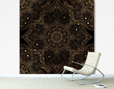 Luxury background vector. Oriental mandala royal pattern seamless. Vintage floral for Christmas party, new year holiday wrapping paper, yoga wallpaper, beauty spa salon ornament, wedding invitation.