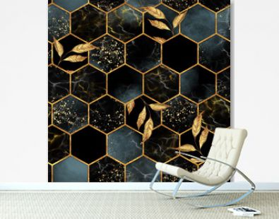 Marble hexagon seamless texture with golden leaves. Abstract background