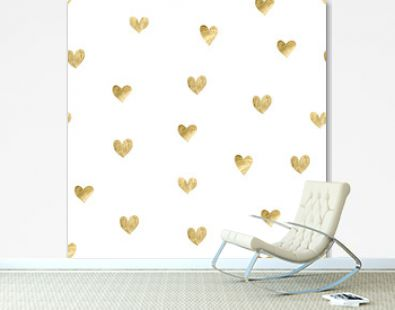 Seamless pattern with gold hearts