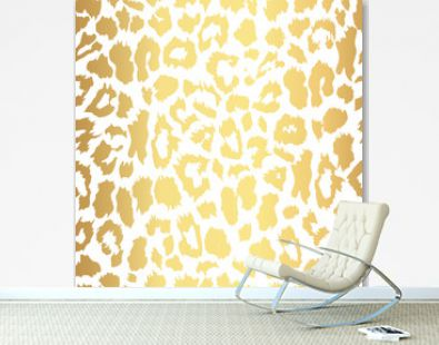 Seamless gold leopard print. Vector pattern, texture, background
