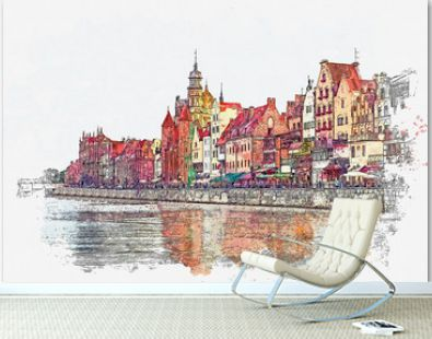 Watercolor sketch or illustration of a beautiful view of the architecture of the city of Gdansk in Poland