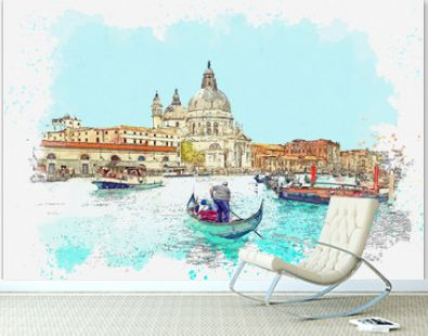 Watercolor sketch or illustration of a beautiful view of the Grand Canal and traditional houses in Venice in Italy. People swim in boats on the water.