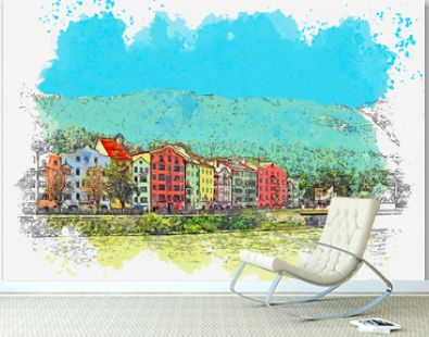 Watercolor sketch or illustration of a beautiful view of the city architecture in Innsbruck in Austria. Cityscape or urban skyline