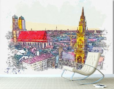 Watercolor sketch or illustration of a beautiful view of the traditional architecture in Munich in Germany. Cityscape or urban skyline