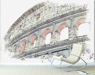 Watercolor sketch or illustration of a beautiful view of the Colosseum in Rome in Italy