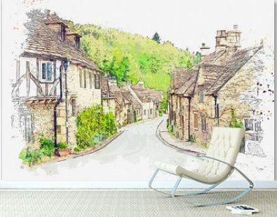 Watercolor sketch or illustration of a beautiful view of traditional houses in a small town or village of Castle Combe in England