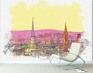 Watercolor sketch or illustration of a beautiful view of the urban architecture in Vienna in Austria. Cityscape or urban skyline