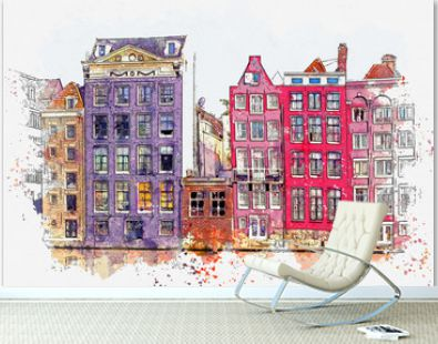 Watercolor sketch or illustration of a beautiful view of traditional residential buildings or urban architecture in Amsterdam in the Netherlands