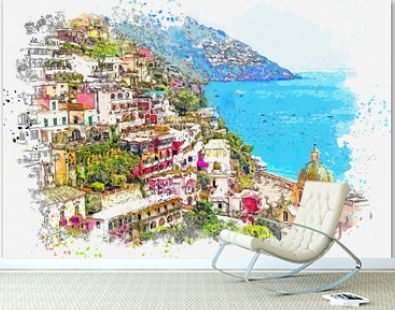 Watercolor sketch or illustration of the view of Conca dei Marini - a commune in Italy, located in the Campania region