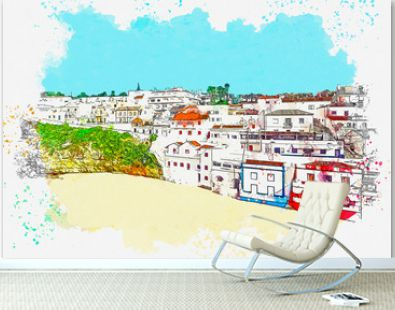 Watercolor sketch or illustration of a beautiful view of colorful beautiful houses in the coastal small town or village of Carvoeiro in Portugal on a sunny summer day