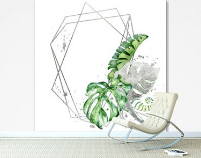 polygonal frame with green and silver tropical leaves