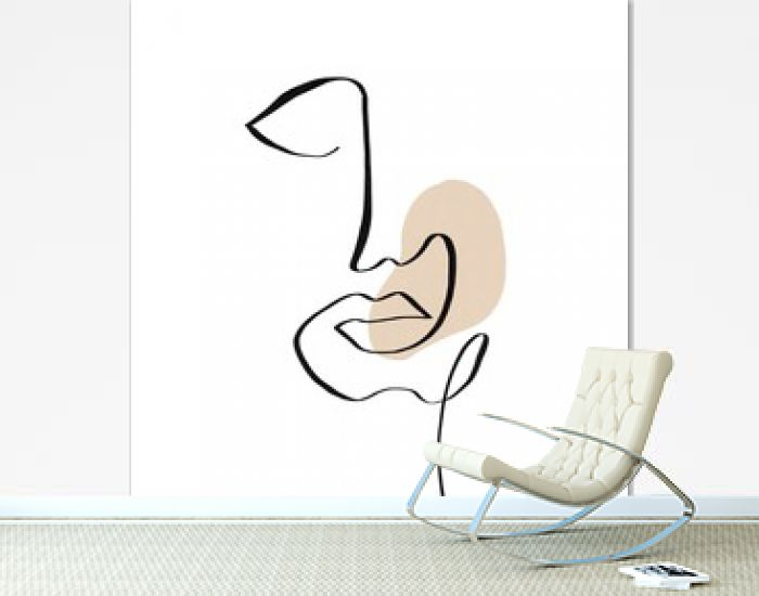 Drawing of abstract linear face of man or woman on creative background with contemporary shapes. Cubism contemporary face. Modern art. Design for poster, home decor.