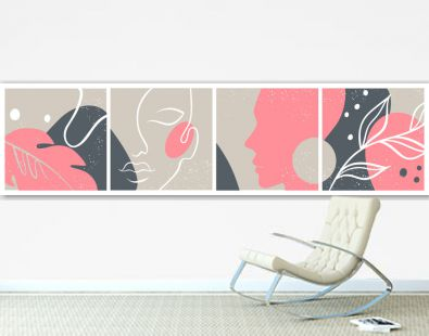 Abstract set with Woman face, silhouette, floral elements one line drawing.