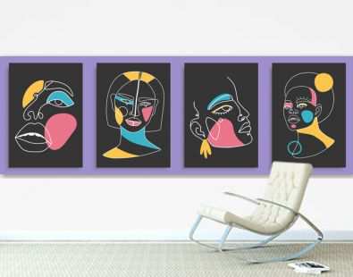 Modern abstract faces with abstract shapes. Minimalism concept. Line art drawing style. Contemporary silhouette of woman. Hand drawn trendy vector posters, illustrations for print.