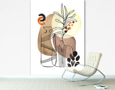 Botanical Line and Abstract Art with black silhouettes of plants and pitchers with bright autumn abstract spots