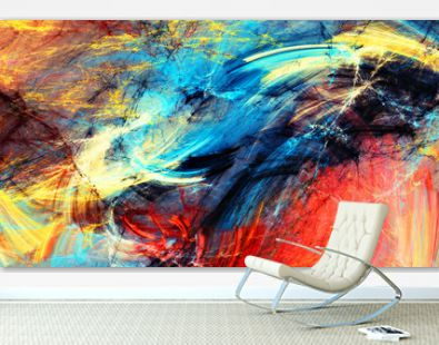 Bright artistic splashes. Abstract painting motion color texture. Modern futuristic pattern. Multicolor swirl background. Fractal artwork for creative graphic design