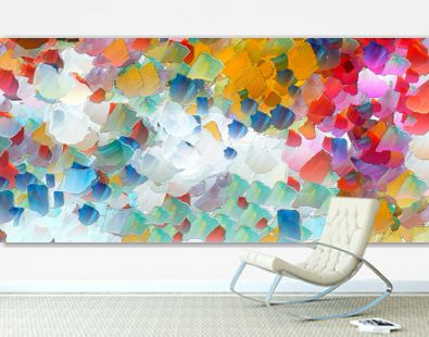 Wall art. Art poster. Stock. Abstract painting in oil. Pattern for creating design postcard, invitation, web or banner. Canvas prints. Watercolor and acrylic mixed modern drawing. Impressionist style.