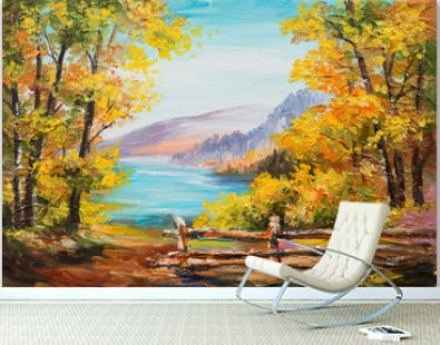Oil painting landscape - colorful autumn forest, mountain lake, impressionism