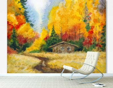Watercolor landscape. Road to the autumn forest