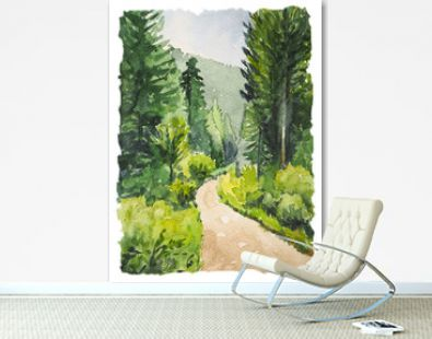 Watercolor painting with wild forest and trail. Inspiration for hiking and travel. Vertical postcard with landscape.