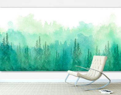 Watercolor group of trees - fir, pine, cedar, fir-tree. green forest, landscape, forest landscape. Drawing on white isolated background. Misty forest in haz. Ecological poster. Watercolor painting