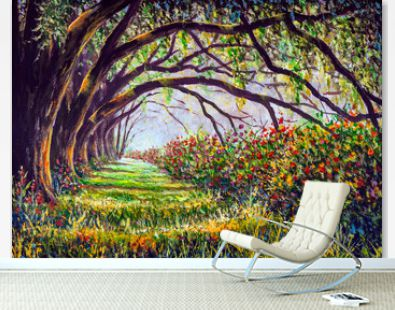 Glade in a fabulous sunny forest with large giants trees and beautiful bushes of lush flowers - acrylic, oil painting to illustrate fairy tales for children
