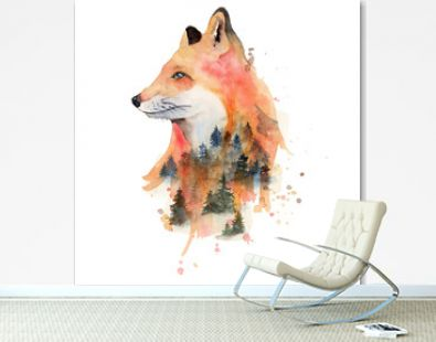 Watercolor fox with double exposure effect Animal illustration isolated on white background.
