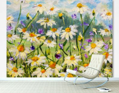 Original oil painting of white daisies flowers, beautiful field flowers on canvas. Modern Impressionism. Palette knife Impasto artwork.