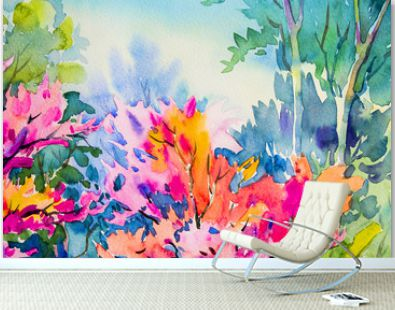 Abstract watercolor original painting colorful of beauty flowers